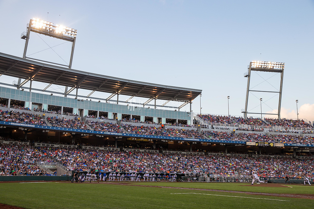 A general view of TD Ameritrade Park during a game between the Miami Hurricanes and Florida Gators at TD Ameritrade Park on June 13, 2015 in Omaha, Nebraska. (Brace Hemmelgarn)