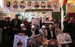 November 19, 2018 - Gaza City, Gaza Strip, Palestinian Territory - Palestinians take part in a protest to solidarity with Palestinian Prisoners held in Israeli jails, in front of Red Cross office, in Gaza city, on November, 19, 2018  (Credit Image: © Ashraf Amra/APA Images via ZUMA Wire)