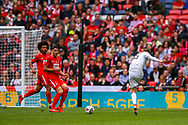 AFC Flyde defender Arlen Birch (16) shoots towards the goal during the FA Trophy final match between AFC Flyde and Leyton Orient at Wembley Stadium on 19 May 2019.