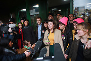 Lyndsay Burtonshaw of the Stansted 15 reads out a statement to the media and celebrate after sentencing at Chelmsford Crown court, 6th of February 2019, Chelmsford, United Kingdom. The group of fifteen activists stopped a Home Office deportation charter flight in Stansted in 2017. The activists were charged under the terrorism law and 12 were sentenced community service and 3 were sentenced suspended 9 months prison sentences.
