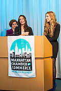 Manhattan Chamber of Commerce's 2012 Awards Breakfast celebrated business excellence by recognizing outstanding leaders. Haley Barna (l) and Katia Beauchamp (r) of  Birchbox accept the Young Professional of the Year Award with NYC Council Speaker Christine Quinn. The awards were presented by Well Fargo and hosted at Con Edison's Conference Center on January 31, 2013.