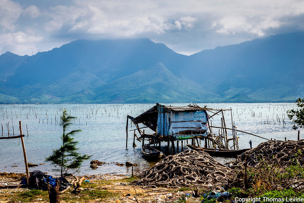 Feb 2021: At Huyện Phú Lộc with an view of a fishing shack over looking the bay and mountains. RAW to jpg
