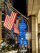 The Helmsley Building lit up in Blue color in Manhattan, New York City.