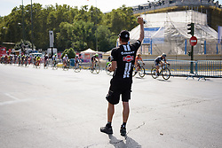 Speeding through the feed zone on a hot day in Madrid at Madrid Challenge by La Vuelta an 87km road race in Madrid, Spain on 11th September 2016.