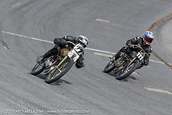 Josh Owens riding one of Billy Lane's 61 ci Harley-Davidson board track style motorcycle racer head to head with Mark Hanna on his 61 ci racer in the Sons of Speed Vintage Motorcycle Races at New Smyrina Speedway. New Smyrna Beach, USA. Saturday, March 9, 2019. Photography ©2019 Michael Lichter.