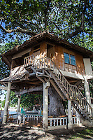 Tree houses or treehouses are platforms or even a cottage constructed in a mature tree and are used for a retreat, home, or just for recreation, or even as an observatory.  Bacong Tree House at Talisay Beach Park is located in Bacong.  Talisay Beach Park features three treehouses for guests spending the day at the resort.  The treehouses are maintained and serviced by the Bacong Municipal Government.  The treehouses overlook the ocean and with Siquijor Island and Apo Island viewed in the distance.