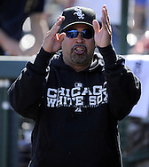 TEMPE, AZ - MARCH 4:  Manager Ozzie Guillen #13 of the Chicago White Sox looks on during a spring training game against the Los Angeles Angels on March 4, 2010 at Tempe Diablo Stadium in Tempe, Arizona. (Photo by Ron Vesely)