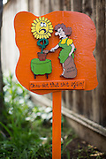 Humorous cartoons line the entrance to The Bulb Guy Rich Santoro's 10,000 Spring bulb garden at his home in Berryessa, San Jose, California, on March 17, 2014. (Stan Olszewski/SOSKIphoto)