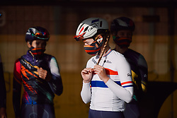 Alice Barnes (GBR) waits to be called to the stage at the 2020 Brabantse Pijl - Elite Women, a 121 km road race from Lennik to Overijse, Belgium on October 7, 2020. Photo by Sean Robinson/velofocus.com