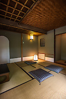 The Ean Tea House at Takanawa Garden which is used for special occasions and tea ceremony.  Japanese tearoom or Chashitsu have tatami mats and usually there is an alcove or tokonoma in the room, as well.  There is no fixed layout, as to where the door has to be in relation to the host's mat but the guests should be seated near the Tokonoma.  The tea ceremony host mat or temaeza cannot be in the same corner as guests as this is where tea is prepared