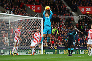 Stoke City Goalkeeper Jack Butland catches the ball. Barclays Premier league match, Stoke city v Manchester city at the Britannia Stadium in Stoke on Trent, Staffs on Saturday 5th December 2015.<br /> pic by Chris Stading, Andrew Orchard sports photography.