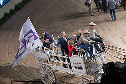 FEI flag, Madden Beezie, (USA), De Vos Ingmar, (BEL) <br />  Longines FEI World Cup™ Jumping Final Las Vegas 2015<br />  © Hippo Foto - Dirk Caremans<br /> Final III round 2 - 20/04/15