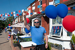 ©Licensed to London News Pictures 08/05/2020  <br /> Bexley, UK. Nick Finneran from North Cray road, Bexley Village, South East London.  VE-Day 75th anniversary celebrations in coronavirus lockdown. People enjoy parties in their front gardens with family and neighbours as they observe social distancing. Photo credit:Grant Falvey/LNP