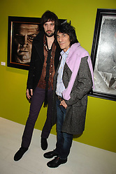 Left to right, SERGIO PIZZORNO of rock band Kasbian and RONNIE WOOD at an exhibition of artist Paul Karslake's work entitled Ideas & Idols, held at Scream, 34 Bruton Street, London W1 on 21st February 2008.<br /><br />NON EXCLUSIVE - WORLD RIGHTS