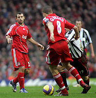 Photo: Paul Thomas.<br /> Liverpool v Sheffield United. The Barclays Premiership. 24/02/2007.<br /> <br /> Javier Mascherano (L) of Liverpool links up with Steven Gerrard.