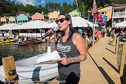 Jody Perewitz hosting the annual Bikini contest at the Naswa Beach Resort during Laconia Motorcycle Week 2016. NH, USA. Thursday June 16, 2016.  Photography ©2016 Michael Lichter.