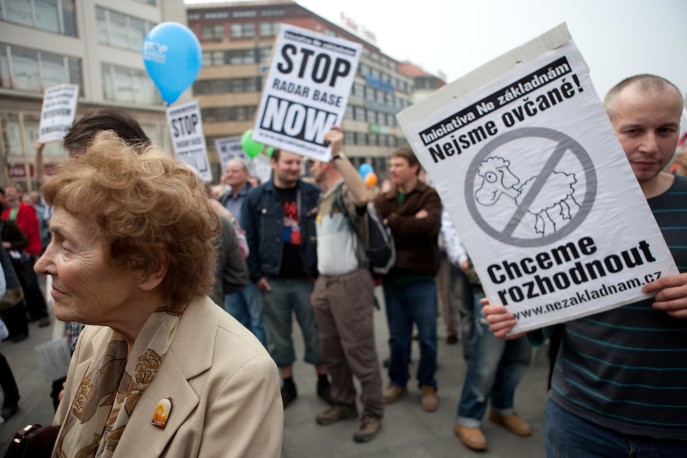 Demonstration against the planned US military radar base in Czech Republic at Wenceslav square on the day of Barack Obamas participation on the EU-US summit in Prague.