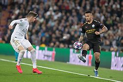 Real Madrid's Fede Valverde and Manchester City's Gabriel Jesus during the UEFA Champions League round of 16 first leg match Real Madrid v Manchester City at Santiago Bernabeu stadium on February 26, 2020 in Madrid, Sdpain. Real was defeated 1-2. Photo by David Jar/AlterPhotos/ABACAPRESS.COM