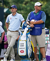 August 9, 2018 - St. Louis, Missouri, United States - Kevin Kisner (L) and his caddie Duane Bock wait on the tee during the first round of the 100th PGA Championship at Bellerive Country Club. (Credit Image: © Debby Wong via ZUMA Wire)