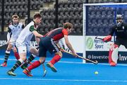 Hampstead & Westminster's Will Calnan. Hampstead & Westminster v Surbiton - Men's Hockey League Final, Lee Valley Hockey & Tennis Centre, London, UK on 29 April 2018. Photo: Simon Parker
