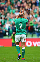 Rugby Union - 2019 pre-Rugby World Cup warm-up (Guinness Summer Series) - Ireland vs. Wales<br /> <br /> Rory Best (c) (Ireland) salutes supporters at the end of the game at The Aviva Stadium.<br /> <br /> COLORSPORT/KEN SUTTON