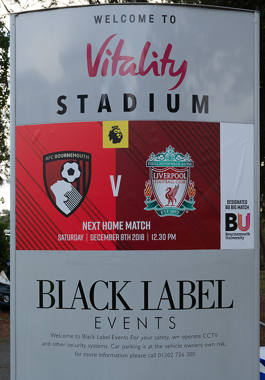 Bournemouth Ground - Vitality Stadium<br /> <br /> Photographer David Horton/CameraSport<br /> <br /> The Premier League - Bournemouth v Liverpool - Saturday 8th December 2018 - Vitality Stadium - Bournemouth<br /> <br /> World Copyright © 2018 CameraSport. All rights reserved. 43 Linden Ave. Countesthorpe. Leicester. England. LE8 5PG - Tel: +44 (0) 116 277 4147 - admin@camerasport.com - www.camerasport.com