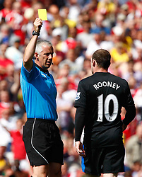 01.05.2011, Emirates Stadium, London, ENG, PL, Arsenal vs Manchester United, im Bild Wayne Rooney of Manchester United gets a yellow catd.Barclays Premier League.Arsenal v Manchester United.at Emirates Stadium, London on 01/05/2011, EXPA Pictures © 2011, PhotoCredit: EXPA/ IPS/ Kieran Galvin *** ATTENTION *** UK AND FRANCE OUT!