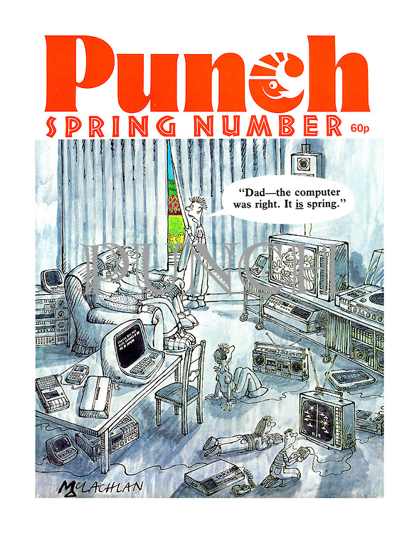 """""""Dad - the computer was right. It is spring."""" (Punch Spring Number, 1983, front cover)"""