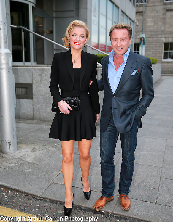 2/5/14 Michael Flatley and wife Niamh arriving at Shanahan's on the Green for Niamh's 40th birthday party. Picture:Arthur Carron