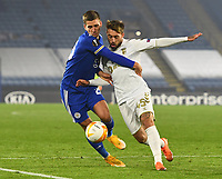 Football - 2020 / 2021 Europa League - Group G - Leicester City vs Sporting Braga - King Power Stadium<br /> <br /> Leicester City's Dennis Praet battles for possession with Sporting Braga's Iuri Medeiros.<br /> <br /> COLORSPORT/ASHLEY WESTERN
