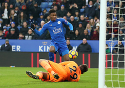 Leicester City's Demarai Gray scores his side's first goal of the game against Burnley