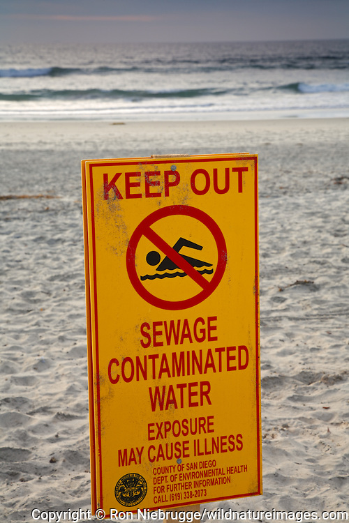 Contaminated water sign at Imperial Beach Municipal Pier, San Diego County, California.