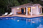 Private home in Parati Brazil. general views of the guest house with the pool in the foreground.