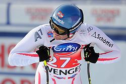 19.01.2013, Lauberhornabfahrt, Wengen, SUI, FIS Weltcup Ski Alpin, Abfahrt, Herren, im Bild Georg Streitberger (AUT) im Ziel // reacts after his run of mens downhillrace of FIS Ski Alpine World Cup at the Lauberhorn downhill course, Wengen, Switzerland on 2013/01/19. EXPA Pictures © 2013, PhotoCredit: EXPA/ Freshfocus/ Urs Lindt..***** ATTENTION - for AUT, SLO, CRO, SRB, BIH only *****