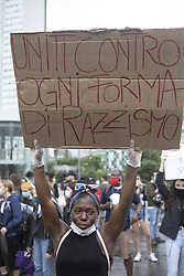 Black Lives Matter demonstration in Central Station Piazza Duca D'Aosta for the death of George Floyd against racism, in Milan, Italy, on June 07, 2020. Photo by Simone Bergamaschi / IPA/ABACAPRESS.COM
