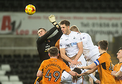 SWANSEA, WALES - Tuesday, January 10, 2017: Swansea City's Joe Rodon in action against Wolverhampton Wanderers during the Football League Trophy 3rd Round match at the Liberty Stadium. (Pic by Gwenno Davies/Propaganda)