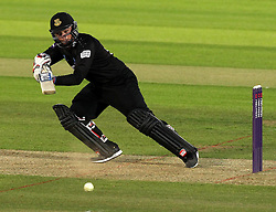 Sussex's Matt Machan cuts at shot onto the offside - Photo mandatory by-line: Robbie Stephenson/JMP - Mobile: 07966 386802 - 19/06/2015 - SPORT - Cricket - Southampton - The Ageas Bowl - Hampshire v Sussex - Natwest T20 Blast