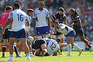Samoa Tusi Pisi throws the ball during the Rugby World Cup 2015 match between Samoa and USA at the Brighton Community Stadium, Falmer, United Kingdom on 20 September 2015.