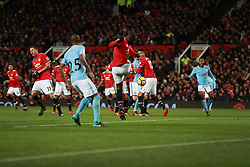 Manchester United's Romelu Lukaku (centre) mistake leads to Manchester City's Nicolas Otamendi (not pictured)  scoring the second goal of the game