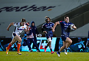 Sale Sharks centre Rohan Janse van Rensburg makes a break during the European Champions Cup match Sale Sharks -V- Edinburgh Rugby at The AJ Bell Stadium, Greater Manchester,England United Kingdom, Saturday, December 19, 2020. (Steve Flynn/Image of Sport)