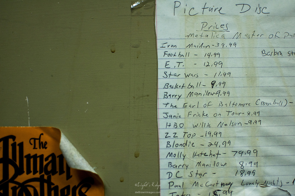 Pricing list for picture discs at the Bus Stop Music Cafe in Pitman, NJ.