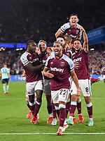 Football - 2021 / 2022 Premier League - West Ham United vs Leicester City - London Stadium - Monday 23rd August 2021<br /> <br /> West Ham United's Said Benrahma celebrates scoring the 2nd goal.<br /> <br /> COLORSPORT/Ashley Western