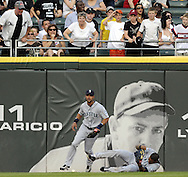 CHICAGO - JUNE 06:  Greg Halman #56 of the Seattle Mariners drops the ball after crashing into the wall on a ball hit by Carlos Quentin #20 of the Chicago White Sox in the first inning on June 6, 2011 at U.S. Cellular Field in Chicago, Illinois.  The White Sox defeated the Mariners 3-1.  (Photo by Ron Vesely)  Subject:  Greg Halman..