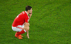 CARDIFF, WALES - Monday, October 9, 2017: Wales' Ben Davies reacts at the final whistle during the 2018 FIFA World Cup Qualifying Group D match between Wales and Republic of Ireland at the Cardiff City Stadium. (Pic by Peter Powell/Propaganda)