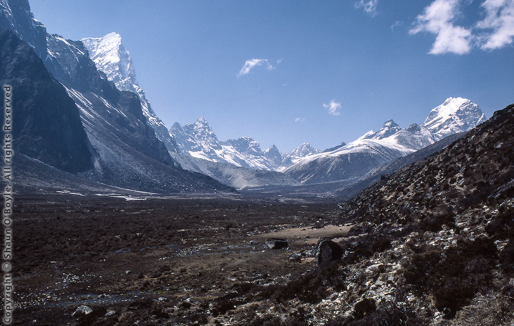 View up valley at Pheriche, Nepal