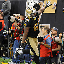 16 January 2010: New Orleans Saints defensive end Anthony Hargrove (69) celebrates after a play during a 45-14 win by the New Orleans Saints over the Arizona Cardinals in the 2010 NFC Divisional Playoff game at the Louisiana Superdome in New Orleans, Louisiana.