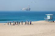 Women's Yoga Group on the Beach in Huntington Beach California