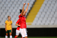 Fifa Womans World Cup Canada 2015 - Preview //<br /> Cyprus Cup 2015 Tournament ( Gsp Stadium Nicosia - Cyprus ) - <br /> Australia vs England 0-3   // Jodie Taylor of England , celebrates after his 2nd Goal (0-2)