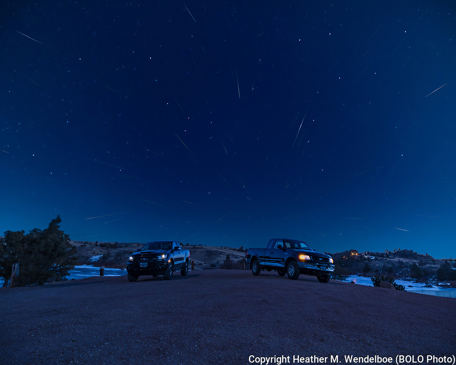 """BOLO Photo<br /> Wild West Automotive Photography<br /> 2021 Quadrantid Meteor Shower<br /> """"High Wind Warning""""<br /> January 3, 2021: Granite Dam Overlook in Curt Gowdy State Park, Wyoming<br /> (2020 Ford Ranger: Heather Wendelboe)<br /> (1996 Ford F150: Curt Wendelboe)"""