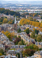 View of large houses in Morningside district of Edinburgh, Scotland, Uk
